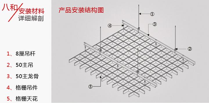 方形铝格栅吊顶安装结构