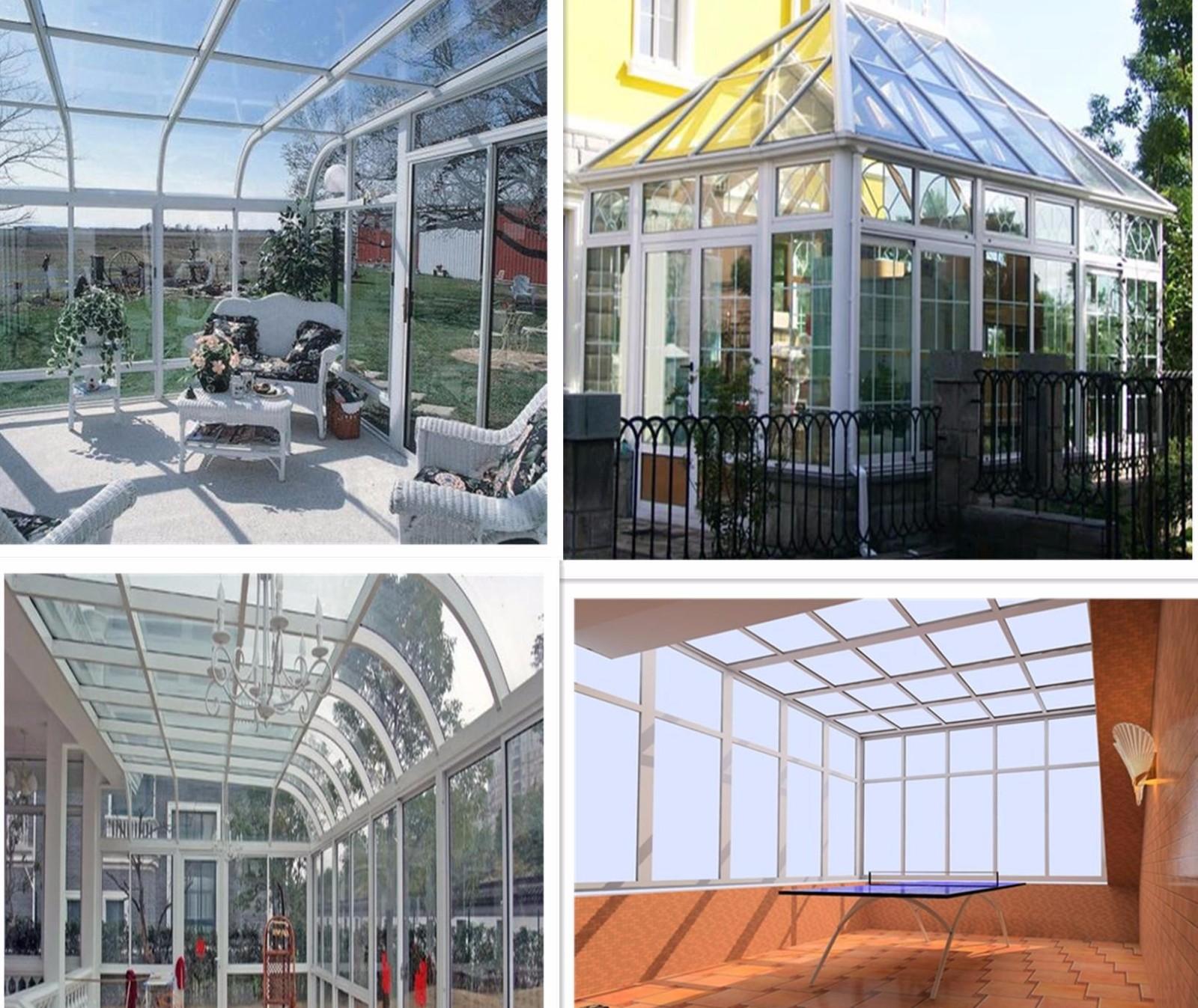 钢结构:磁漆方钢,喷塑方钢,不锈钢,塑钢框架 阳光顶:钢化玻璃,钢化中